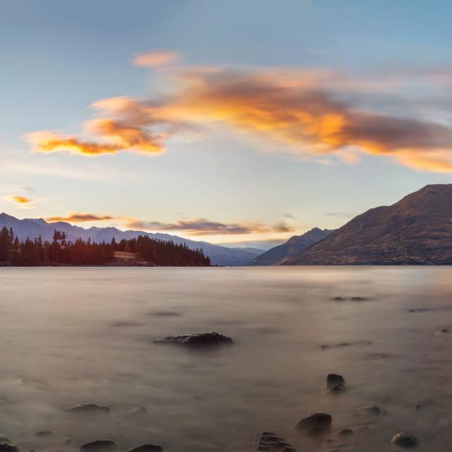 """""""Colors of Dawn at Lake Wakatipu"""" stock image"""