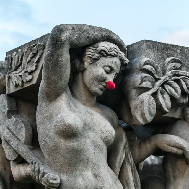 """Red Nose on Statue"" stock image"