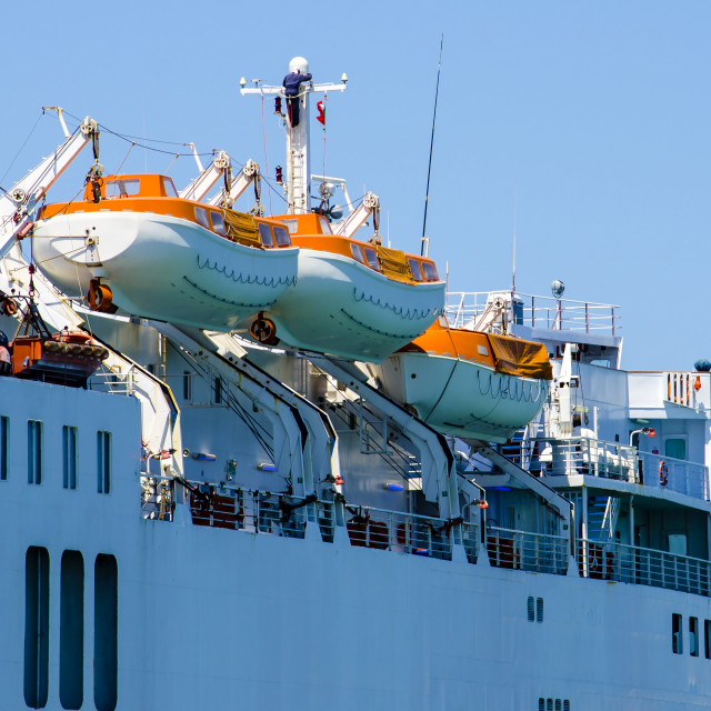 """""""Safety lifeboat on deck of a cruise ship"""" stock image"""