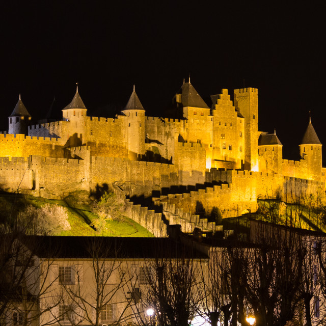 """""""Castle and walls of Carcassonne"""" stock image"""