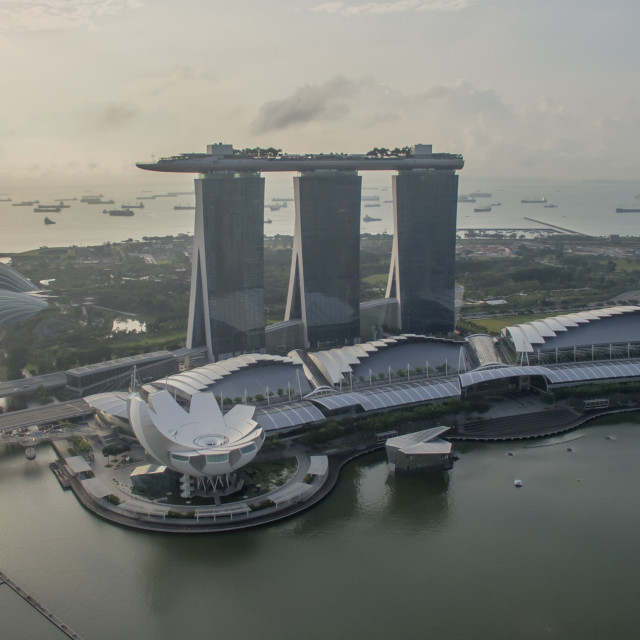"""""""Aerial view of Marina Bay Sands area"""" stock image"""
