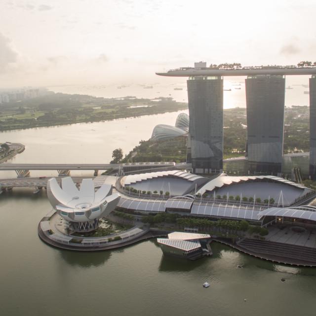"""Golden hour at Marina Bay Sands Singapore"" stock image"