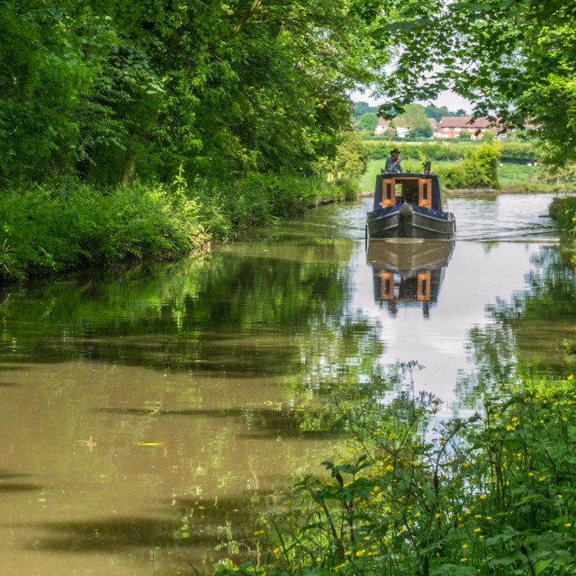 """""""Canal boat in the Cheshire countryside"""" stock image"""