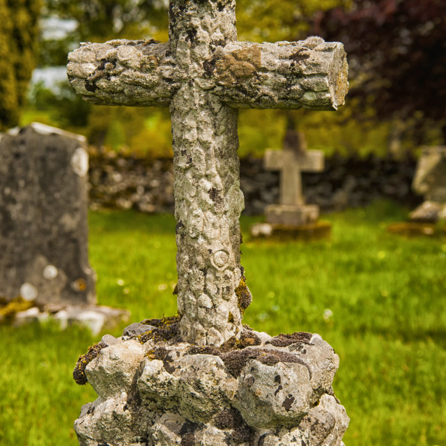 """Cross monument in Lowther Church Yard."" stock image"