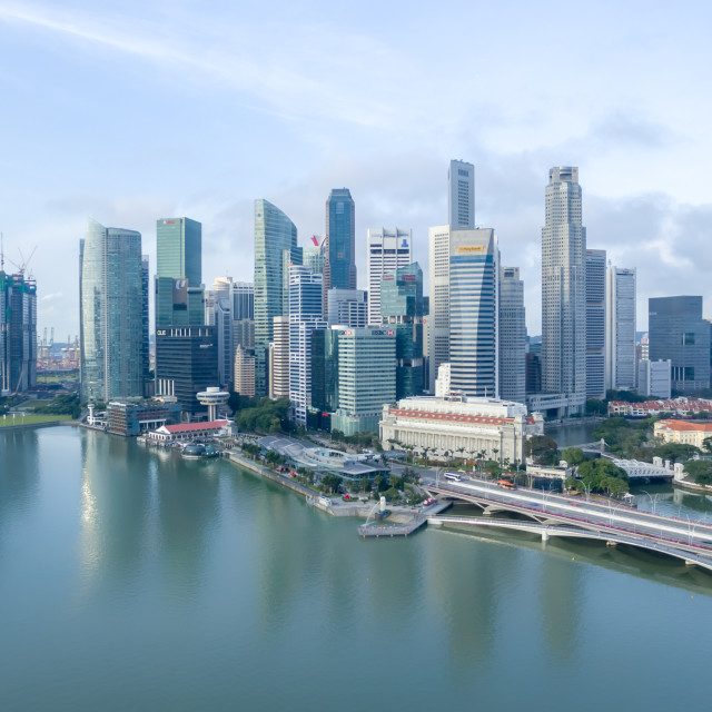"""""""Aerial view of Marina Bay area"""" stock image"""