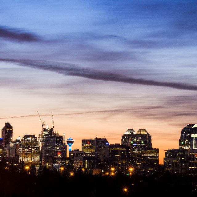 """Dawn over Calgary"" stock image"