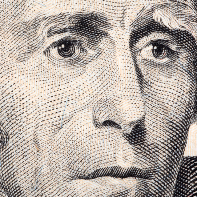 """Andrew Jackson a close-up portrait"" stock image"