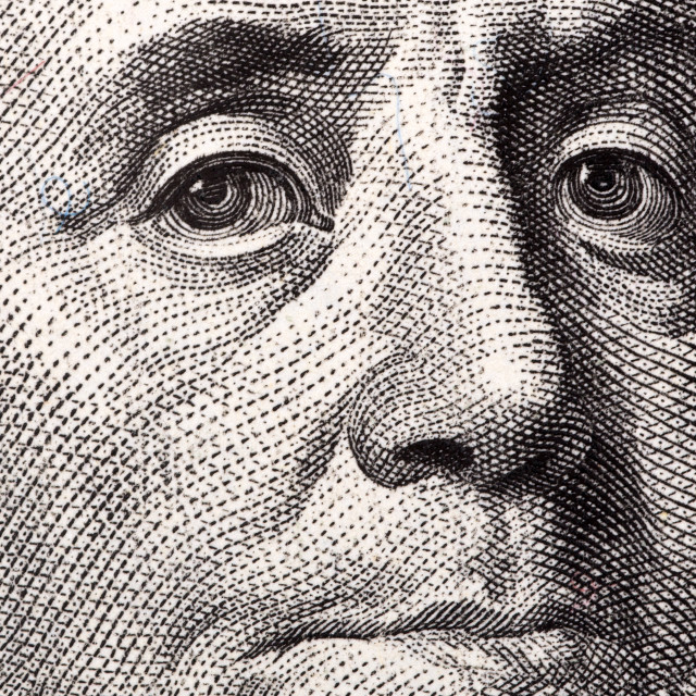 """Benjamin Franklin, a close-up portrait"" stock image"