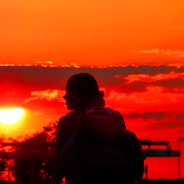 """Sunset girl"" stock image"