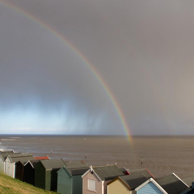 """Rainbow, Felixstowe seafront"" stock image"