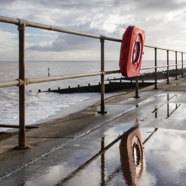 """""""Lifebuoy reflection, Felixstowe"""" stock image"""