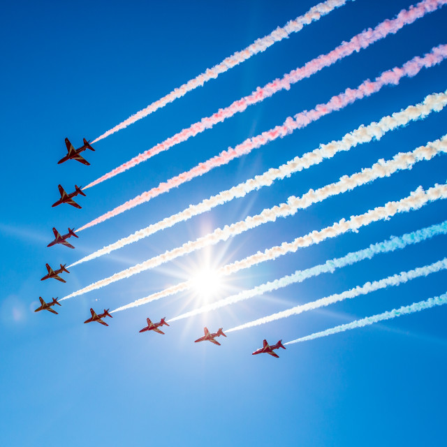 """RAF Red Arrows"" stock image"