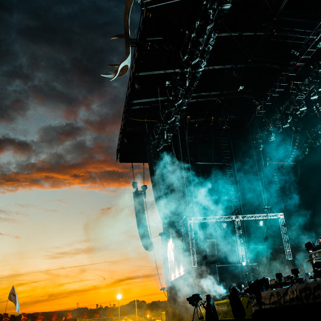 """""""Glastonbury Sunset with the Chemical Brothers"""" stock image"""