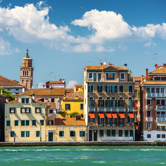 """""""A leaning bell tower in Venice, Italy"""" stock image"""