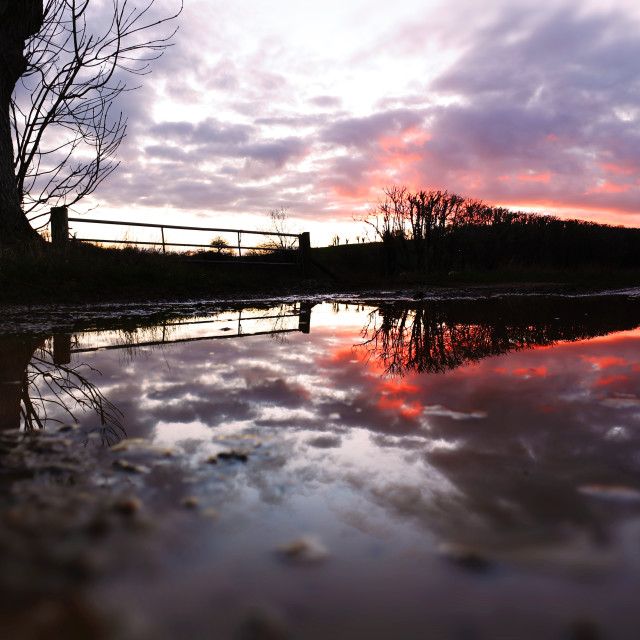 """Reflection After Storm Imogen - Sunset"" stock image"