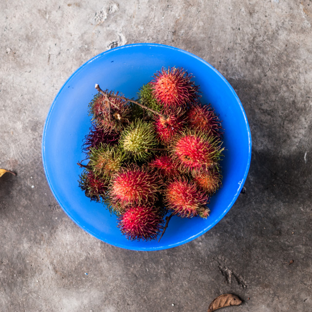 """A bowl of rambutan"" stock image"
