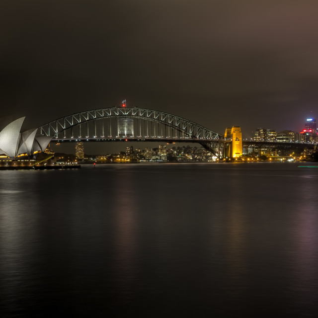 """Sydney Harbour By Night"" stock image"