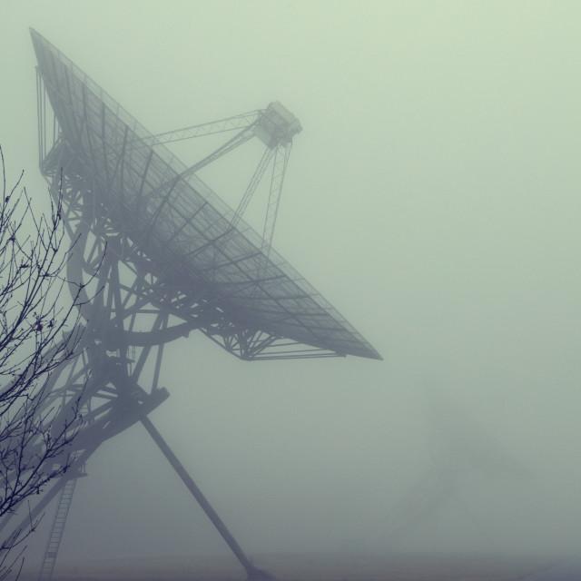 """Radiotelescopes in the mist"" stock image"