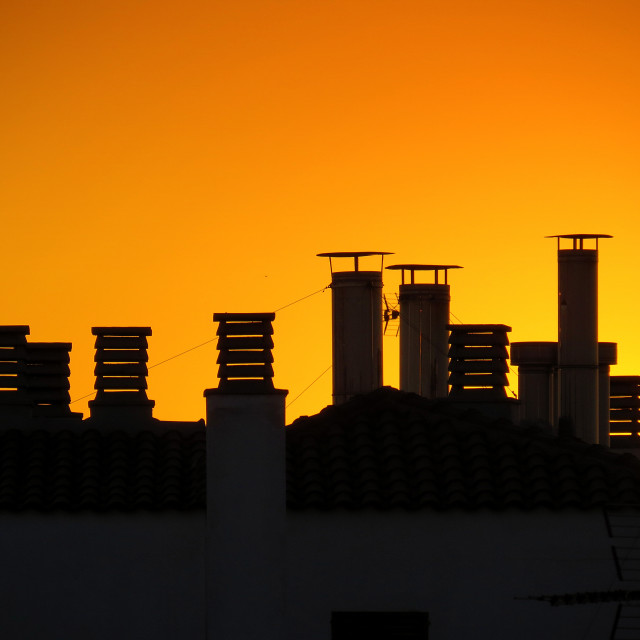 """""""sunset rooftop"""" stock image"""