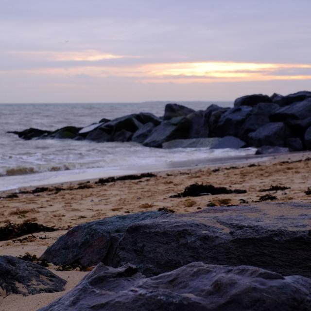 """Winter beach sunset"" stock image"