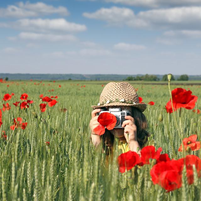 """little girl photos poppies flower spring season"" stock image"