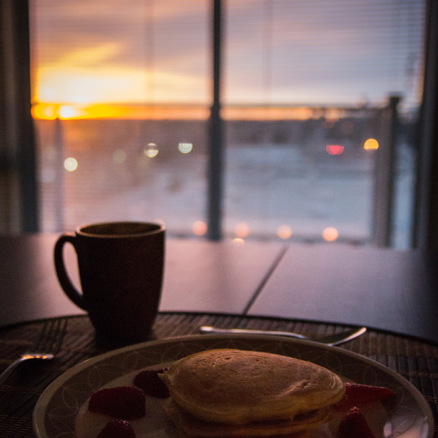 """Breakfast with a view"" stock image"
