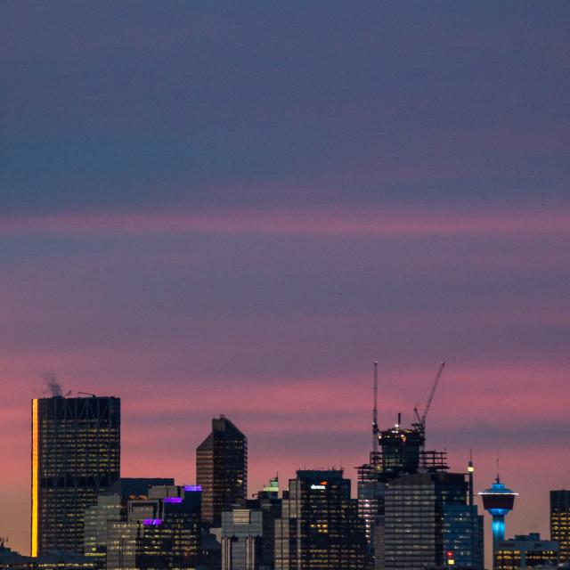 """Urban skyline at dawn"" stock image"