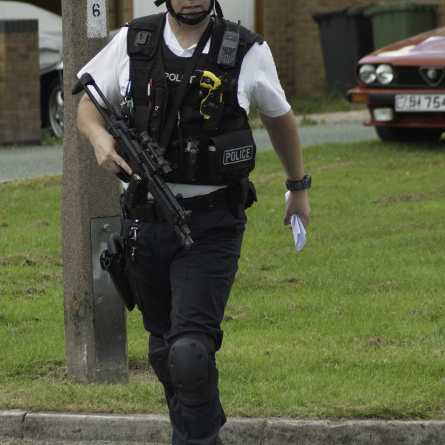 """Armed British Policeman"" stock image"