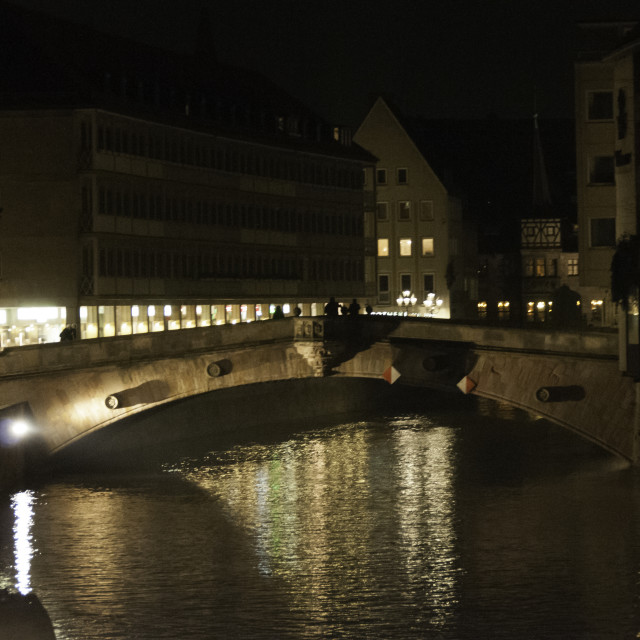 """Fleisch Bridge over Pegnitz river,"" stock image"