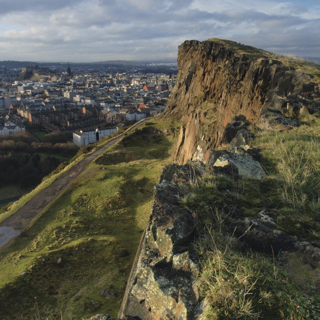 """Edinburgh from Salisbury Crags"" stock image"