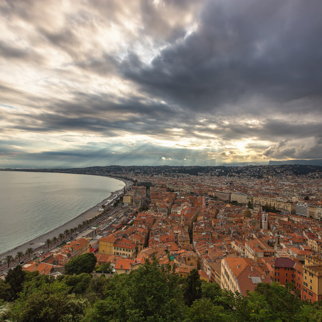 """""""Nice, French Riviera viewed from the high Castle Hill"""" stock image"""
