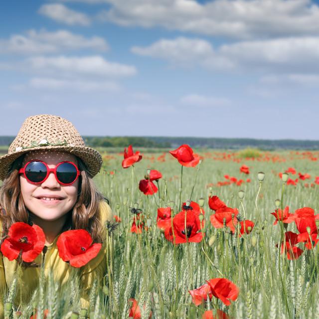 """happy little girl spring season"" stock image"