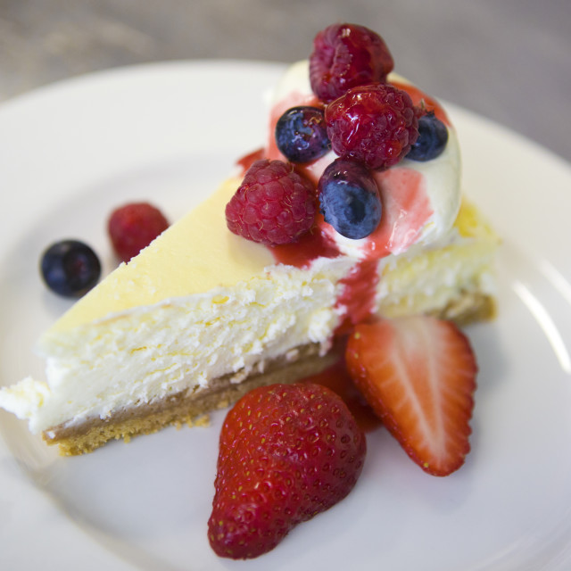 """""""Cheesecake with Fruit"""" stock image"""