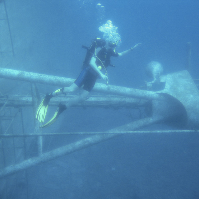 """Diving on a wreck"" stock image"