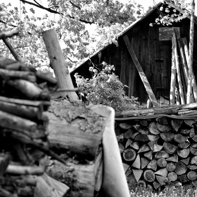 """""""Wood at barn"""" stock image"""