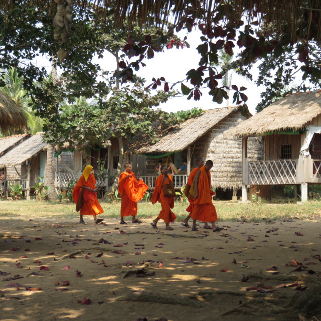 """Monks out for a stroll"" stock image"