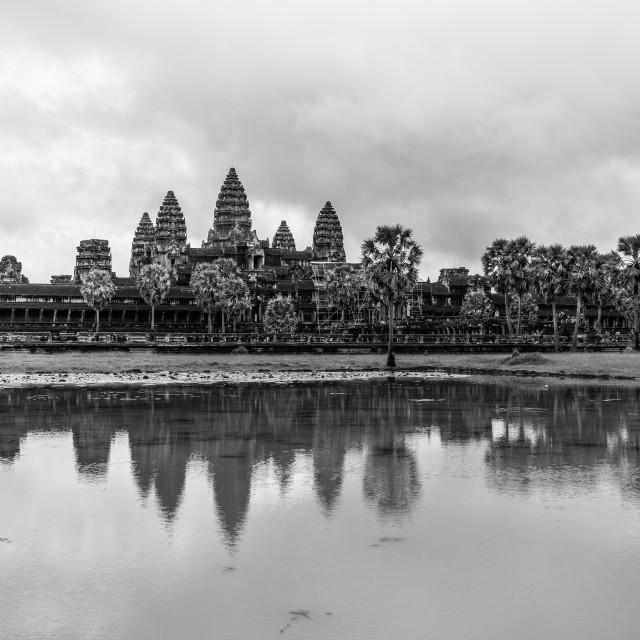 """Black and white Angkor Wat"" stock image"