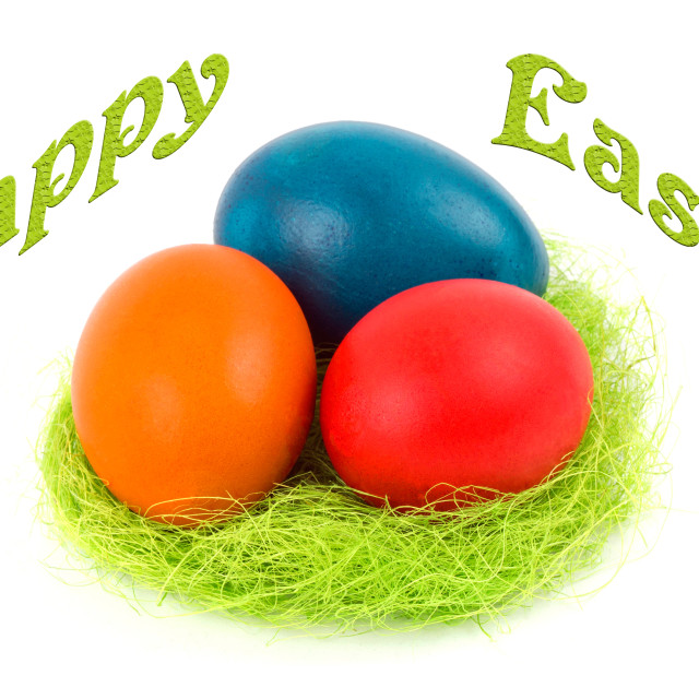 """Happy Easter - Easter eggs in the nest"" stock image"