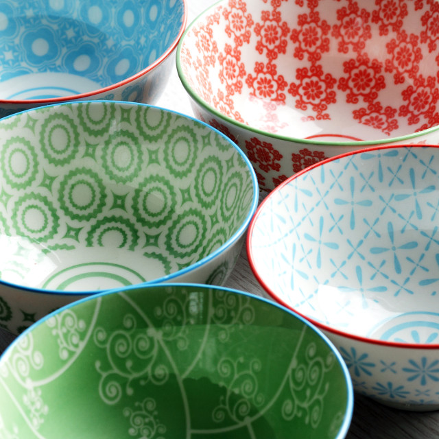 """Group of Oriental Ceramic Bowls"" stock image"