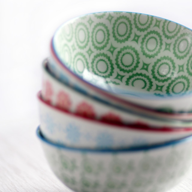 """Stack of Oriental Ceramic Bowls"" stock image"