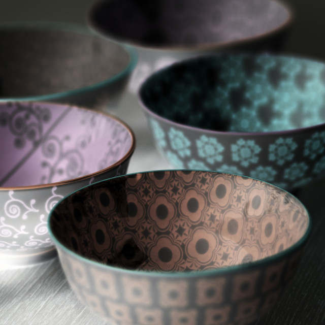 """A spread of Oriental Ceramic Bowls"" stock image"