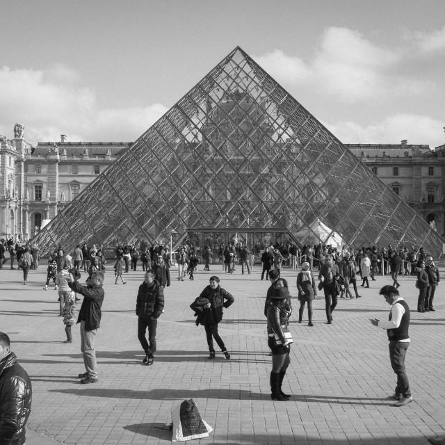 """Tourist outside Louvre"" stock image"