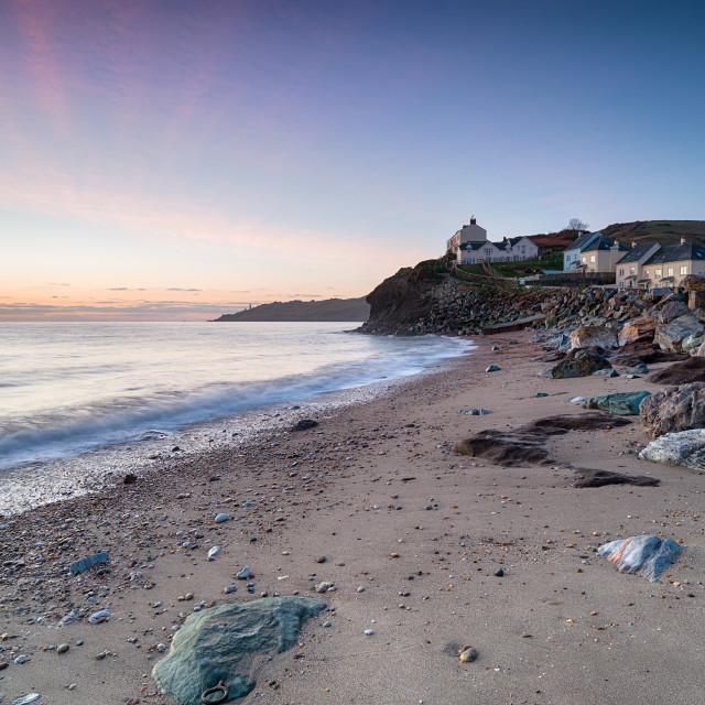 """Dawn at Hallsands in Devon"" stock image"
