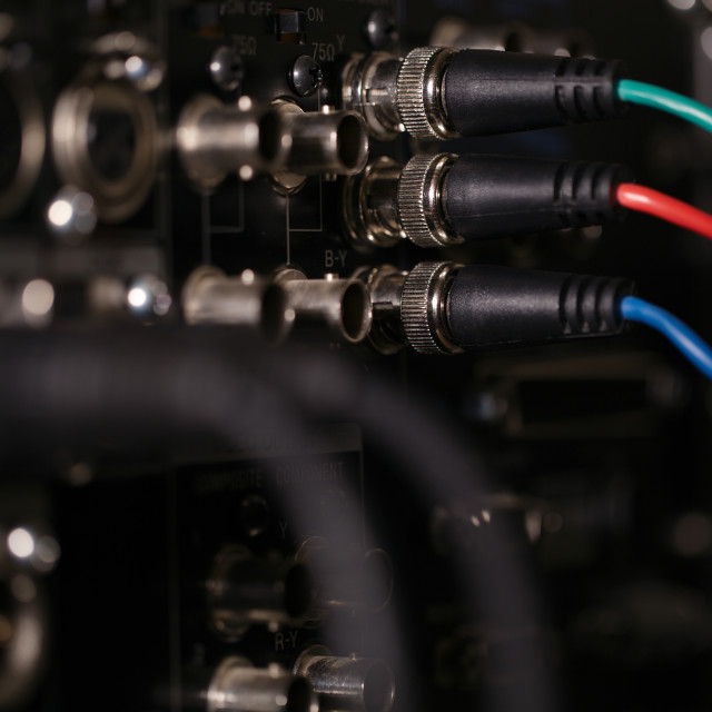 """""""RGB video cables in the pro recorder."""" stock image"""
