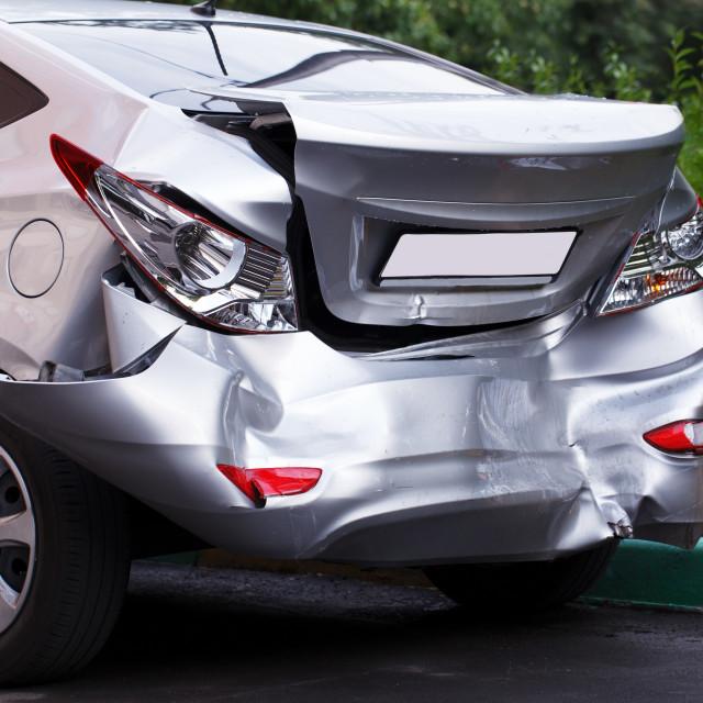 """Big dent on car"" stock image"