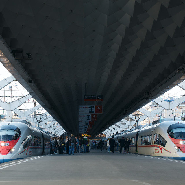 """High speed train Sapsan departs from the railway station"" stock image"
