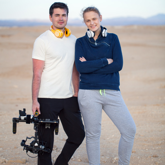 """""""Young people with steadycam on the beach"""" stock image"""
