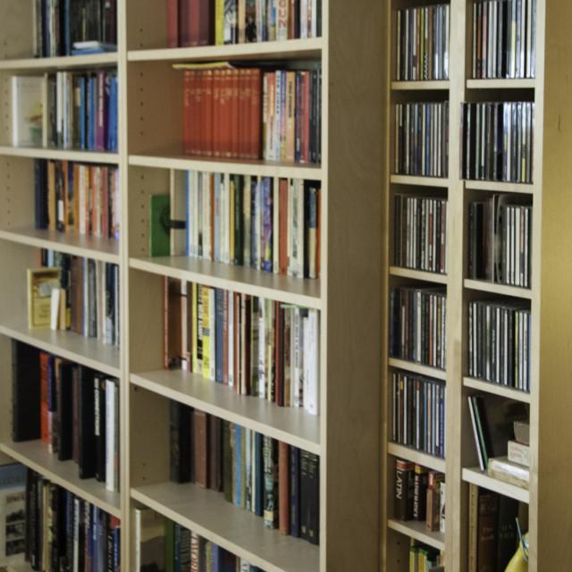 """""""Books on shelves"""" stock image"""
