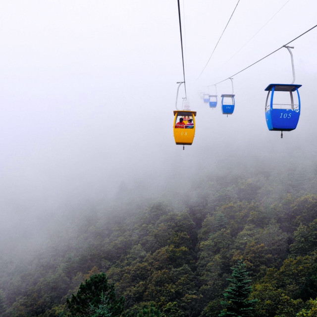 """Yunnan Cable Car Ride"" stock image"