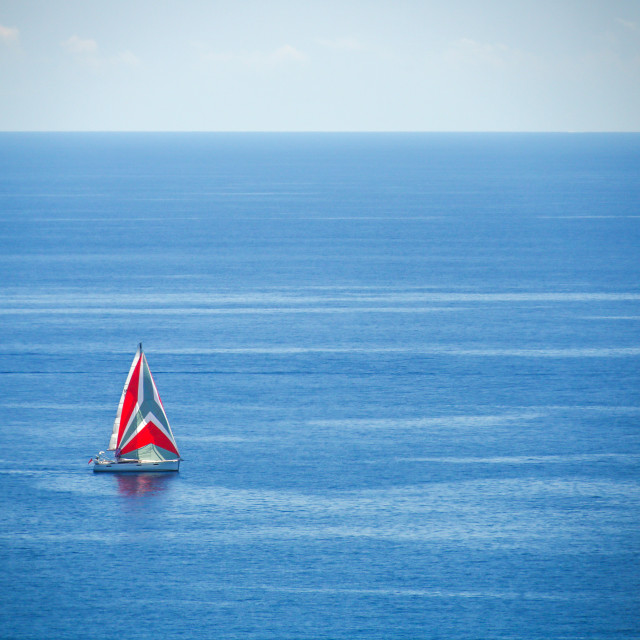 """Luxury yacht sailing in Mediterranean Sea near French Riviera, M"" stock image"
